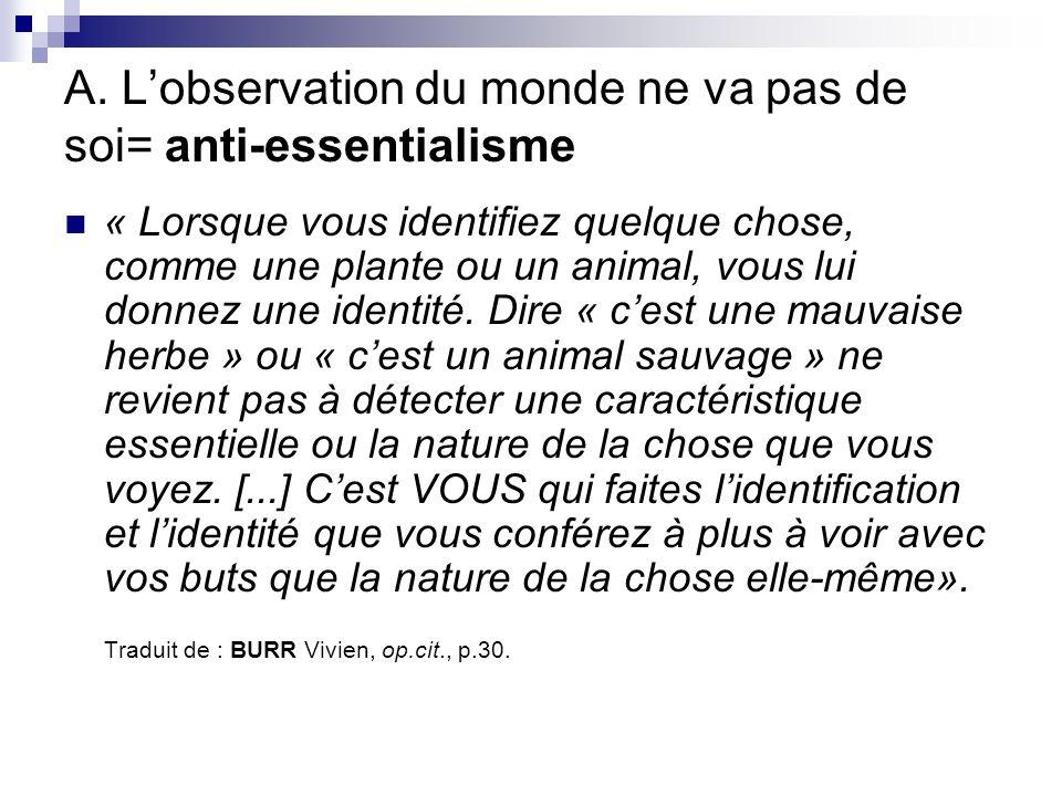 A. L'observation du monde ne va pas de soi= anti-essentialisme
