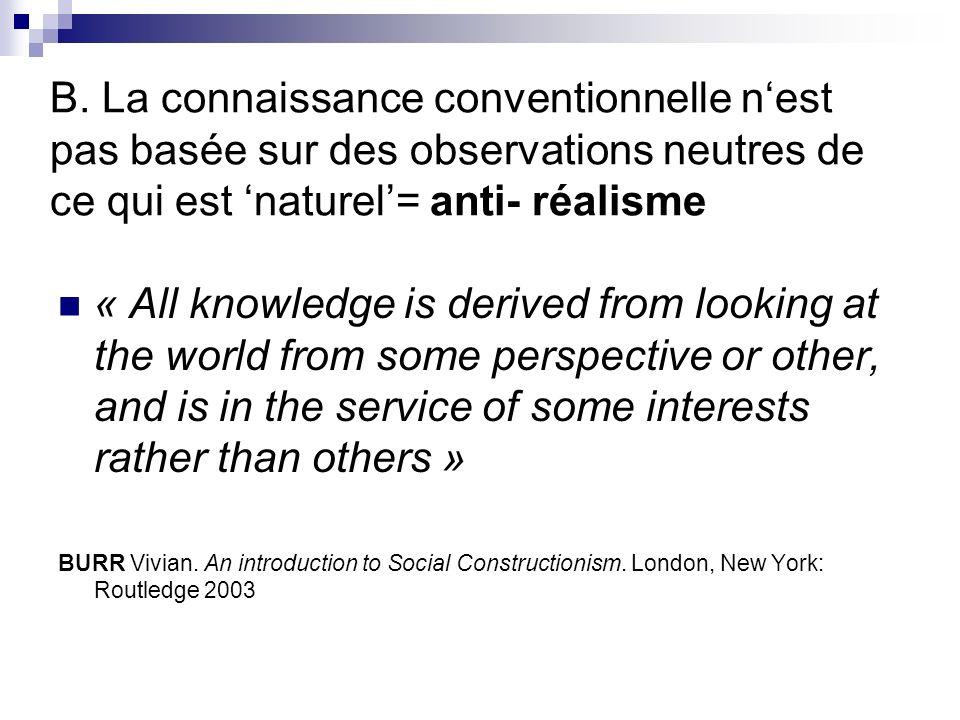 B. La connaissance conventionnelle n'est pas basée sur des observations neutres de ce qui est 'naturel'= anti- réalisme