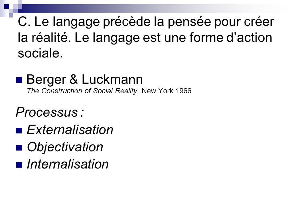 C. Le langage précède la pensée pour créer la réalité