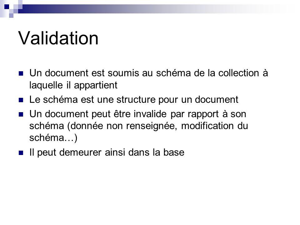 Validation Un document est soumis au schéma de la collection à laquelle il appartient. Le schéma est une structure pour un document.