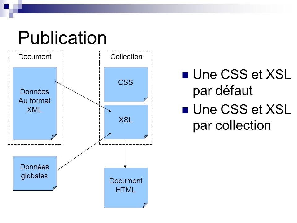 Publication Une CSS et XSL par défaut Une CSS et XSL par collection