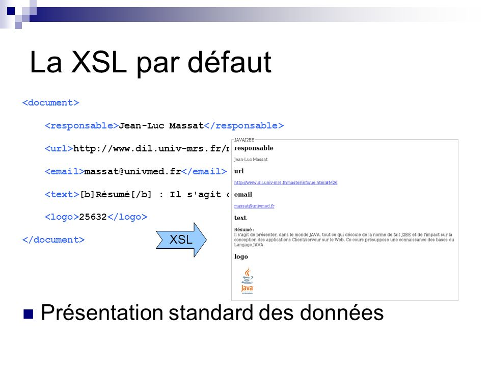 La XSL par défaut Présentation standard des données XSL