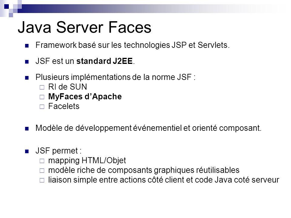 Java Server Faces Framework basé sur les technologies JSP et Servlets.