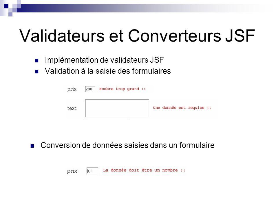Validateurs et Converteurs JSF