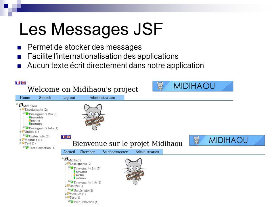 Les Messages JSF Permet de stocker des messages