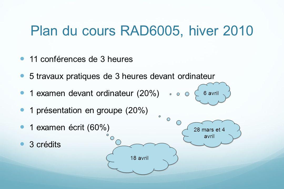 Plan du cours RAD6005, hiver 2010 11 conférences de 3 heures