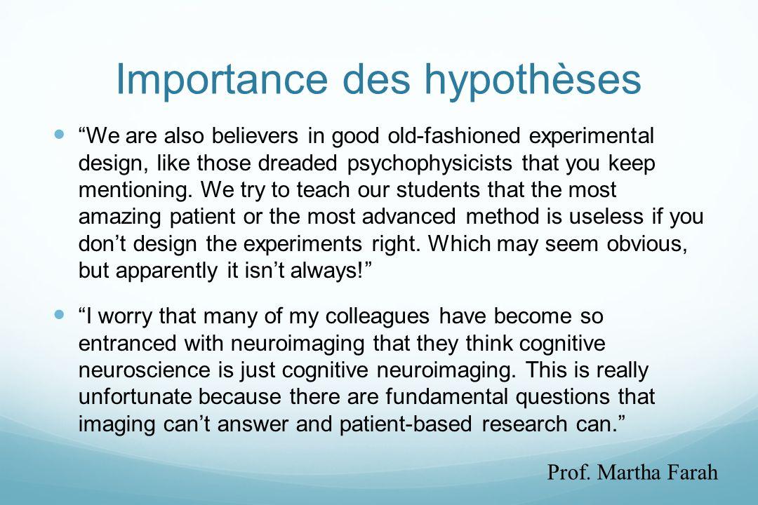 Importance des hypothèses