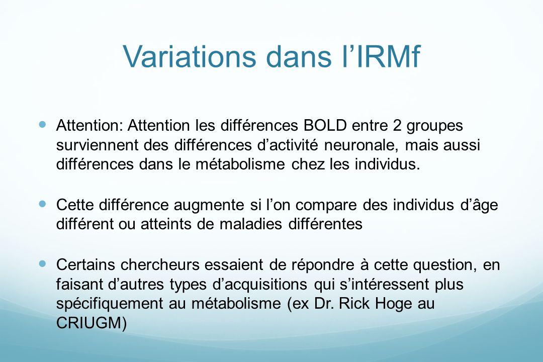 Variations dans l'IRMf