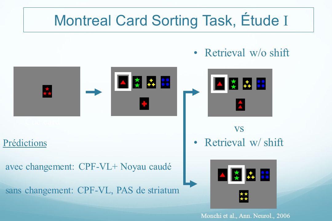 Montreal Card Sorting Task, Étude I