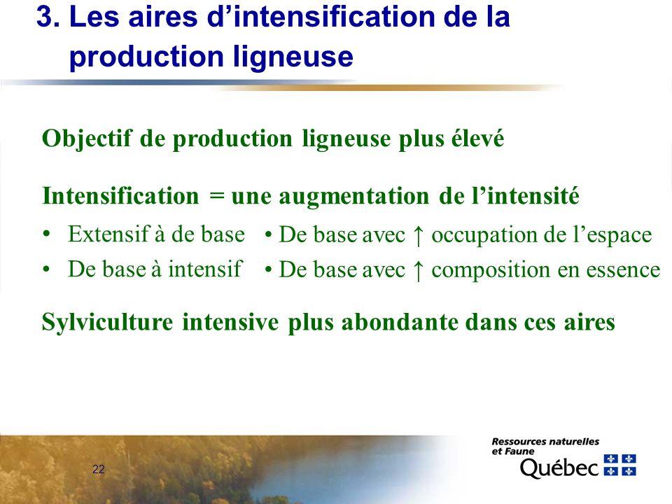 3. Les aires d'intensification de la production ligneuse
