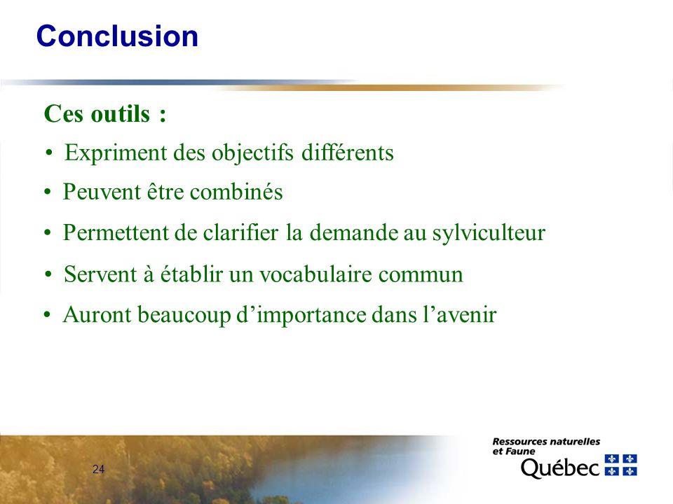 Conclusion Ces outils : Expriment des objectifs différents