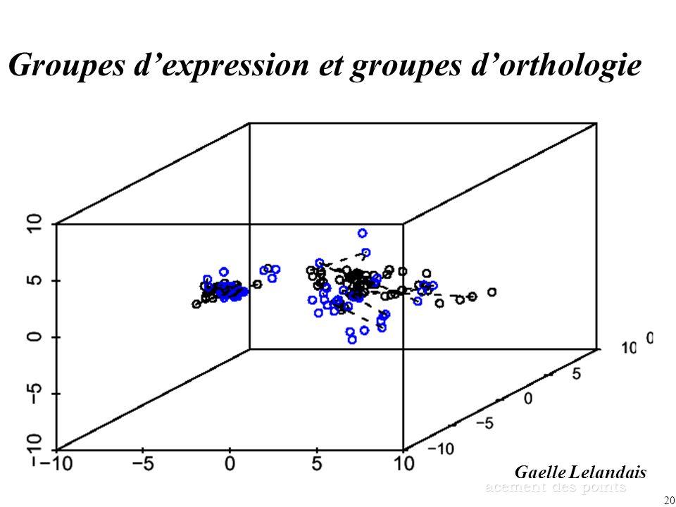 Groupes d'expression et groupes d'orthologie