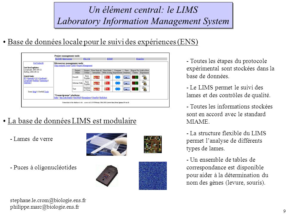 Un élément central: le LIMS Laboratory Information Management System