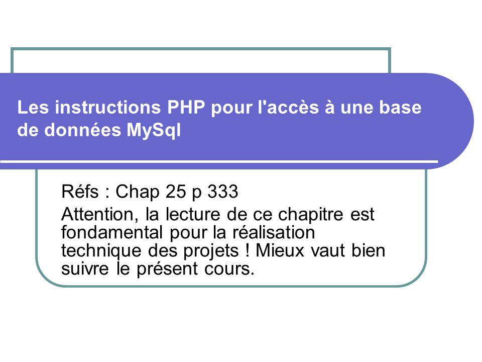 Les instructions PHP pour l accès à une base de données MySql