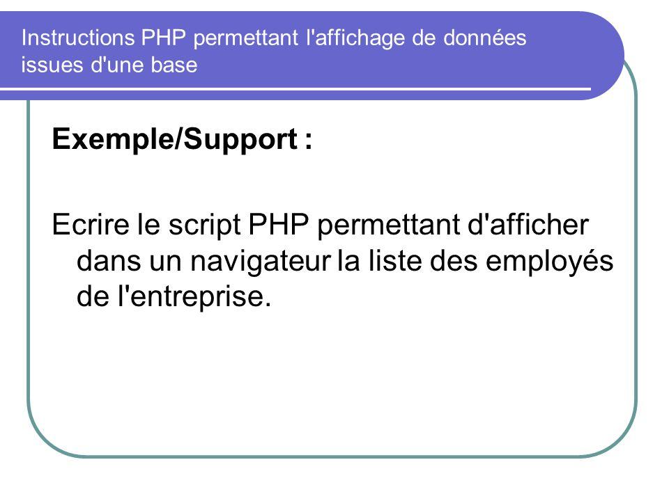 Instructions PHP permettant l affichage de données issues d une base