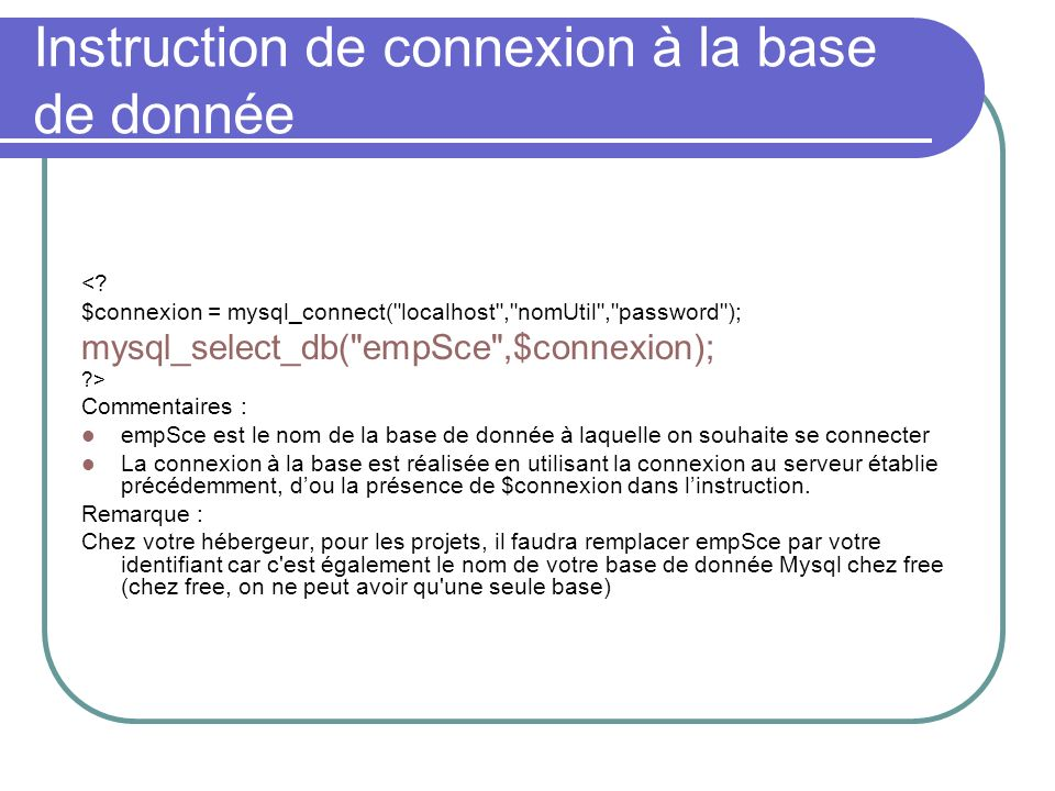 Instruction de connexion à la base de donnée