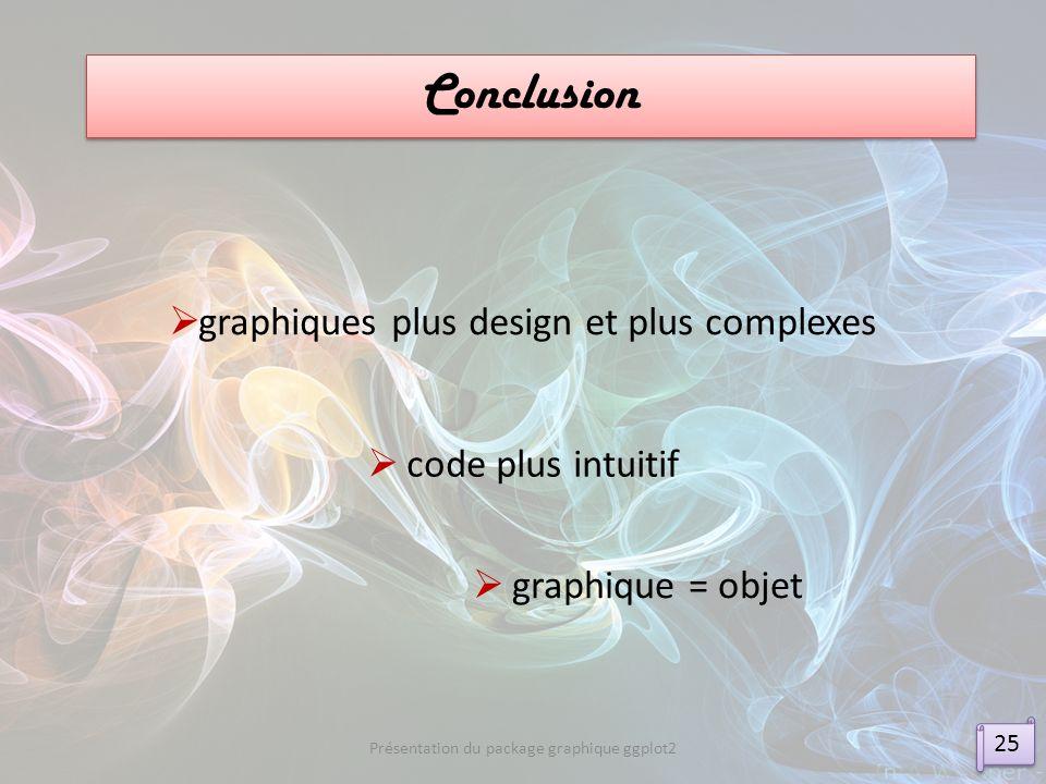 Conclusion graphiques plus design et plus complexes code plus intuitif