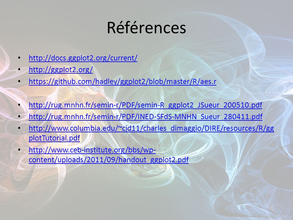 Références http://docs.ggplot2.org/current/ http://ggplot2.org/