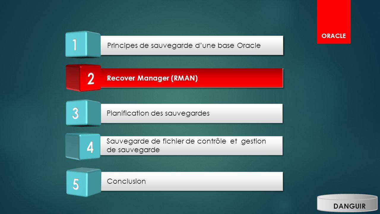 1 1 2 2 3 4 5 Principes de sauvegarde d'une base Oracle