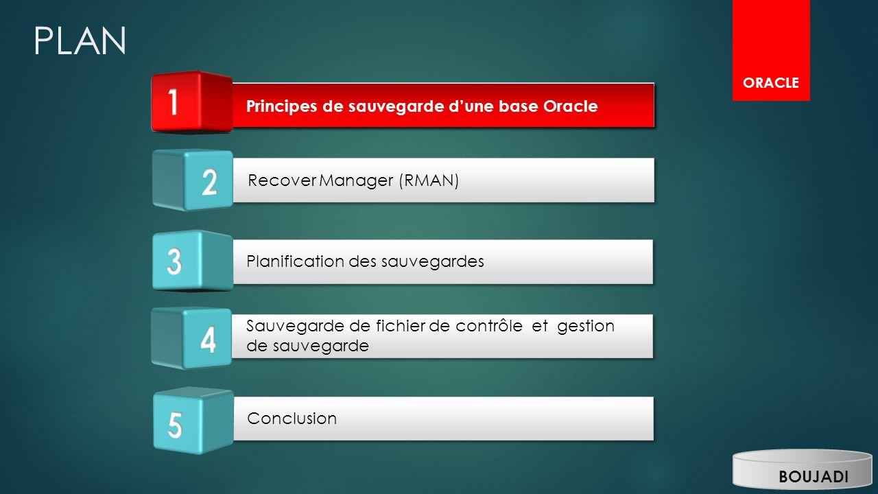 PLAN 1 1 1 2 3 4 5 Principes de sauvegarde d'une base Oracle