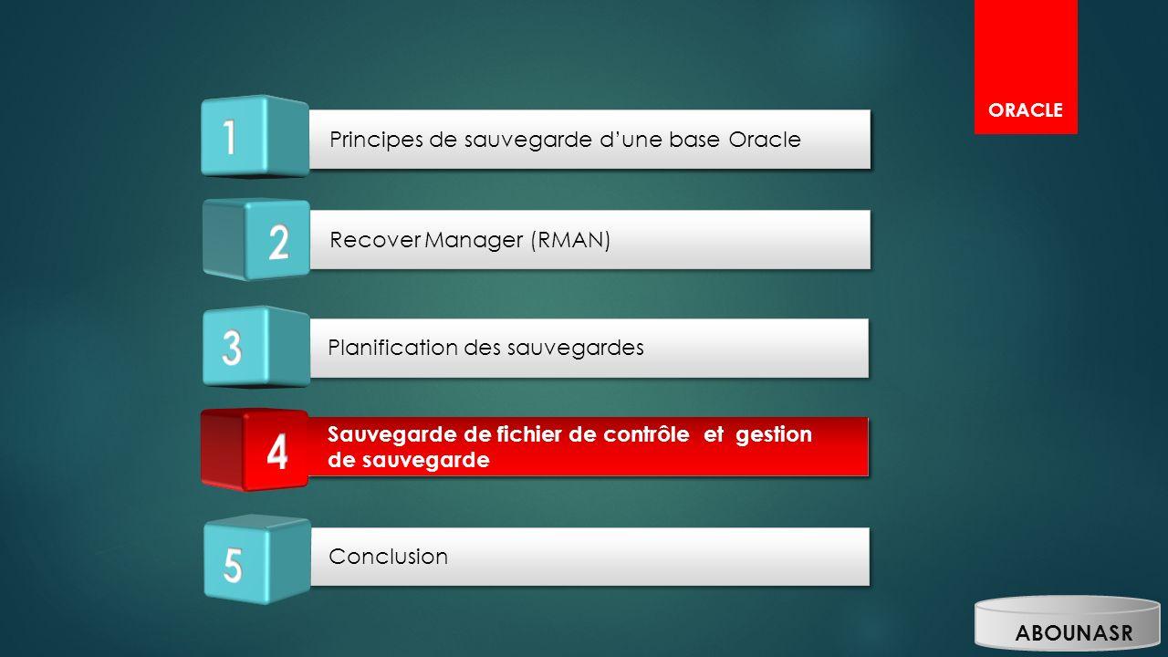 1 1 2 3 4 4 5 Principes de sauvegarde d'une base Oracle
