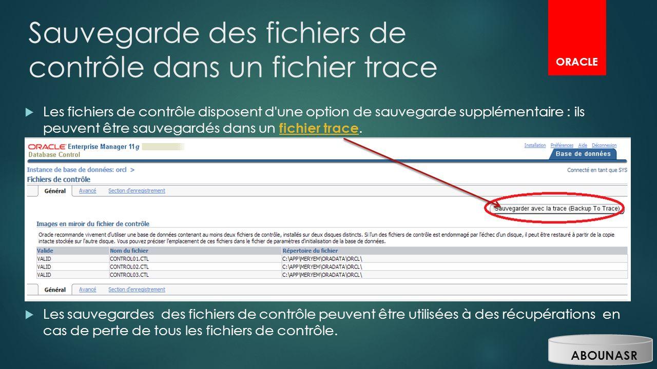 Sauvegarde des fichiers de contrôle dans un fichier trace