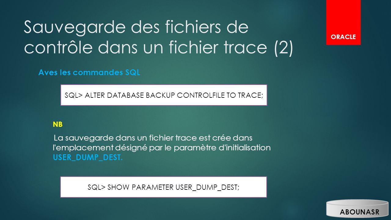 Sauvegarde des fichiers de contrôle dans un fichier trace (2)