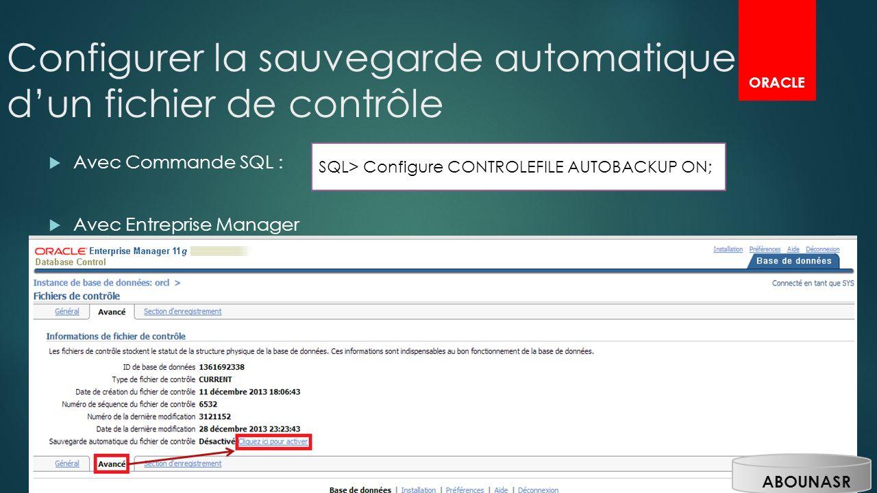 Configurer la sauvegarde automatique d'un fichier de contrôle