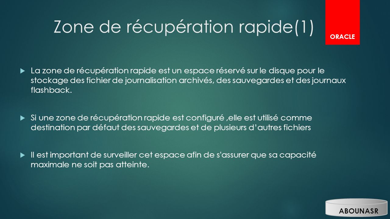 Zone de récupération rapide(1)