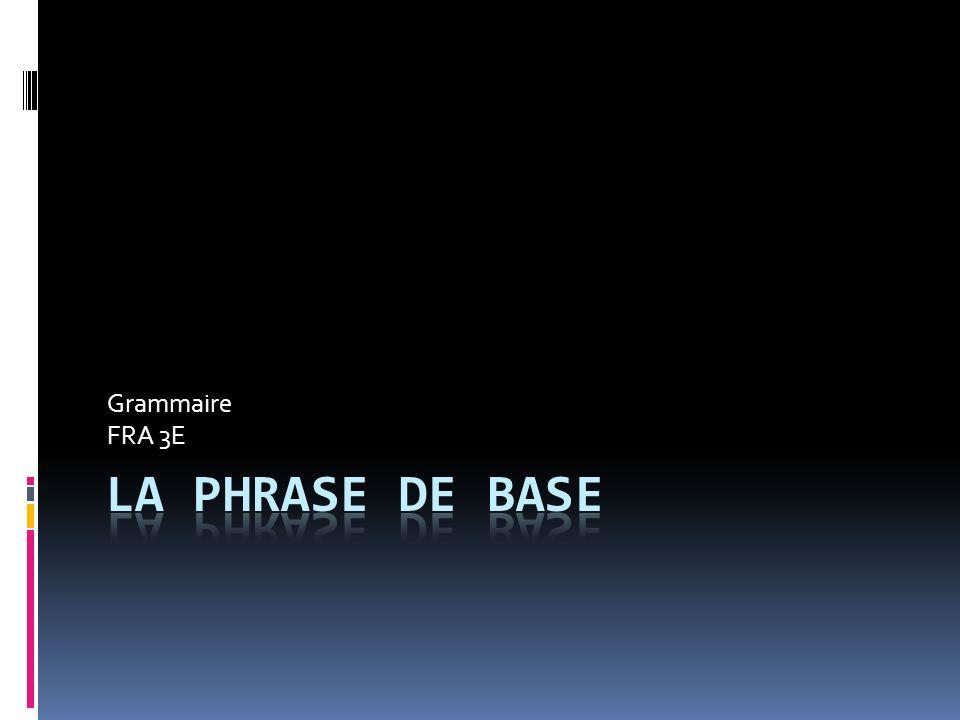 Grammaire FRA 3E La phrase de base