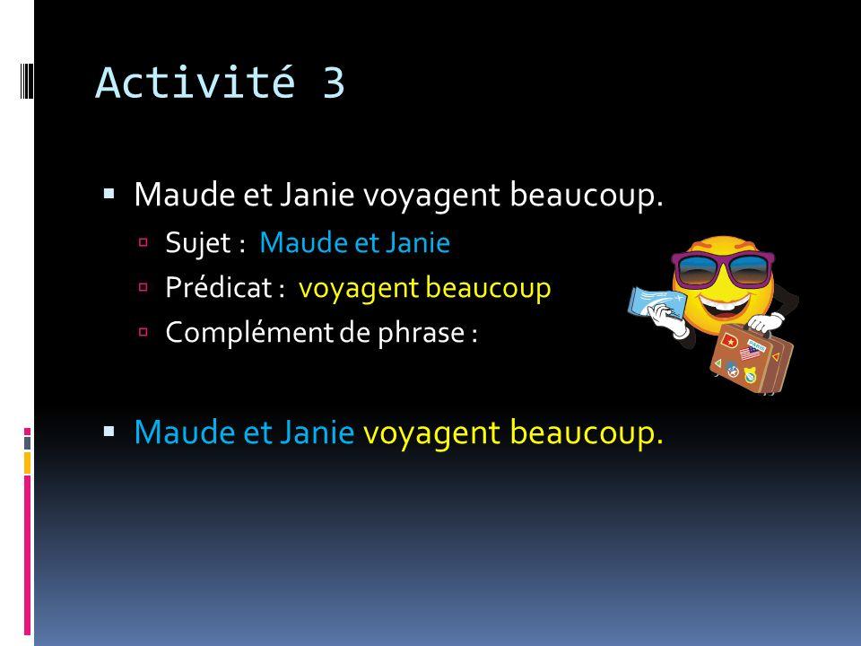 Activité 3 Maude et Janie voyagent beaucoup. Sujet : Maude et Janie