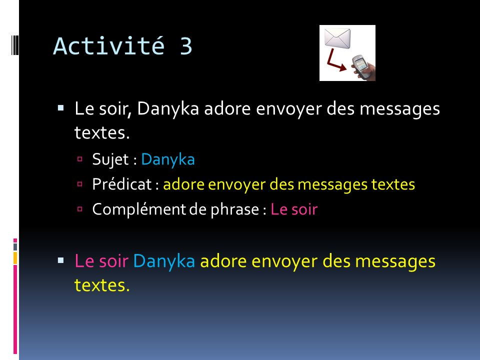 Activité 3 Le soir, Danyka adore envoyer des messages textes.