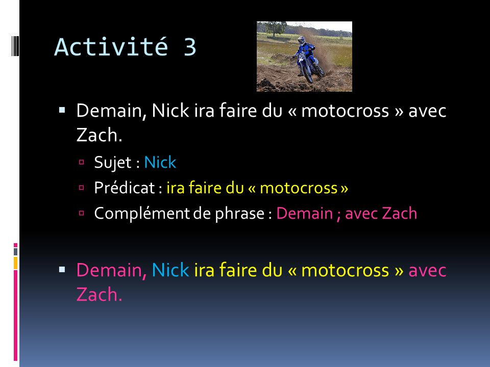 Activité 3 Demain, Nick ira faire du « motocross » avec Zach.
