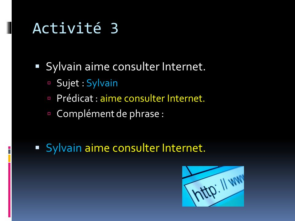 Activité 3 Sylvain aime consulter Internet. Sujet : Sylvain