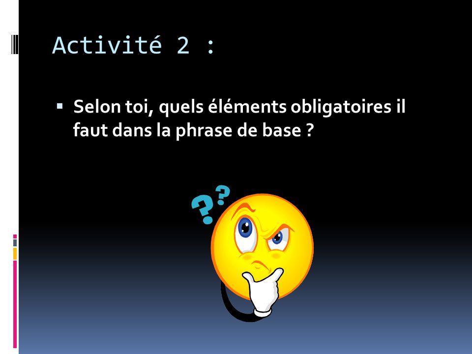Activité 2 : Selon toi, quels éléments obligatoires il faut dans la phrase de base