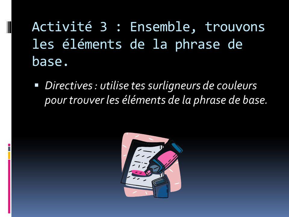 Activité 3 : Ensemble, trouvons les éléments de la phrase de base.