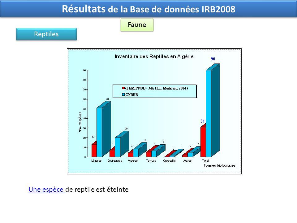Résultats de la Base de données IRB2008