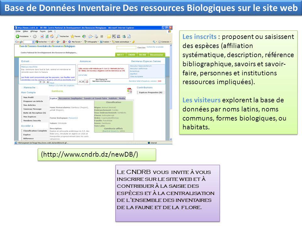 Base de Données Inventaire Des ressources Biologiques sur le site web