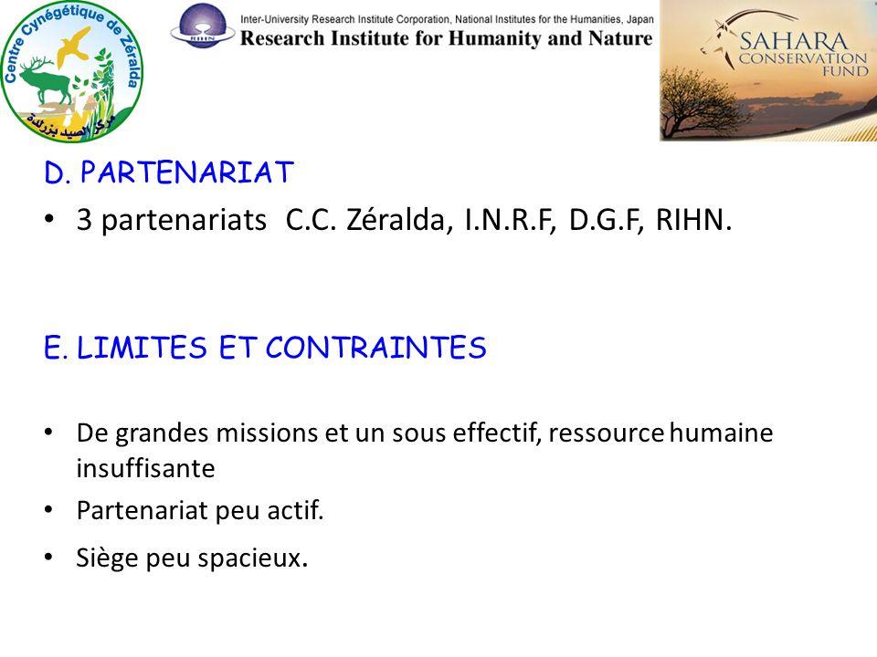 3 partenariats C.C. Zéralda, I.N.R.F, D.G.F, RIHN.