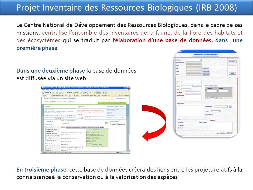Projet Inventaire des Ressources Biologiques (IRB 2008)