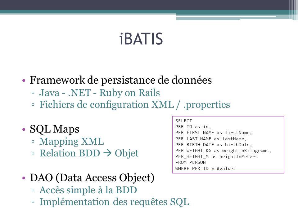 iBATIS Framework de persistance de données SQL Maps