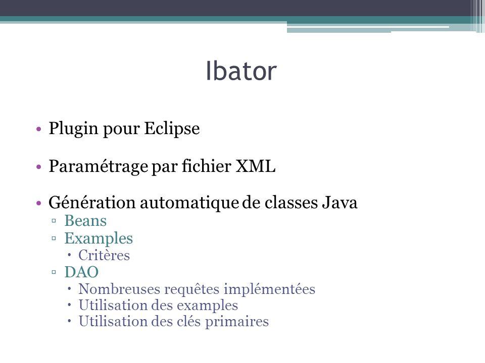 Ibator Plugin pour Eclipse Paramétrage par fichier XML