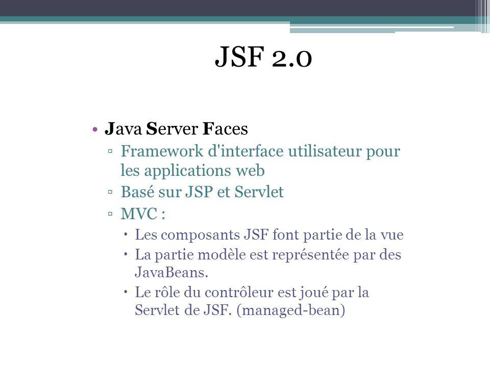JSF 2.0 Java Server Faces. Framework d interface utilisateur pour les applications web. Basé sur JSP et Servlet.