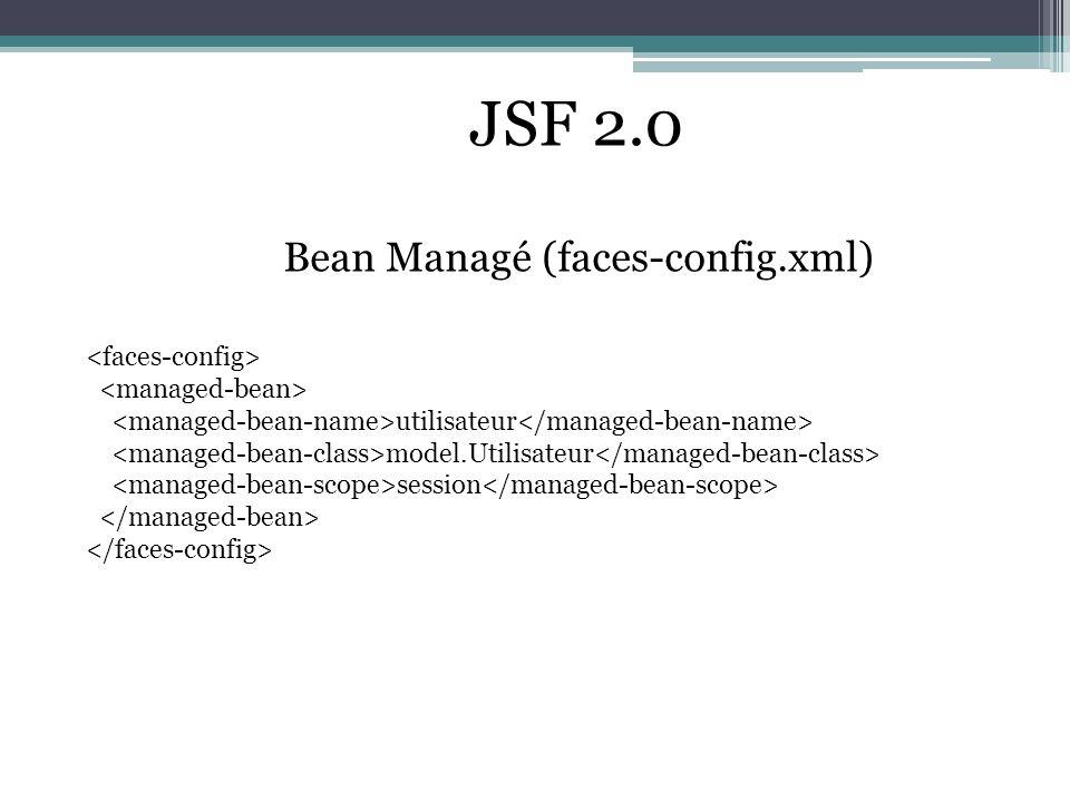 JSF 2.0 Bean Managé (faces-config.xml) <faces-config>