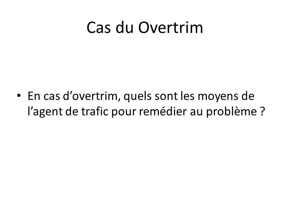 Cas du Overtrim En cas d'overtrim, quels sont les moyens de l'agent de trafic pour remédier au problème