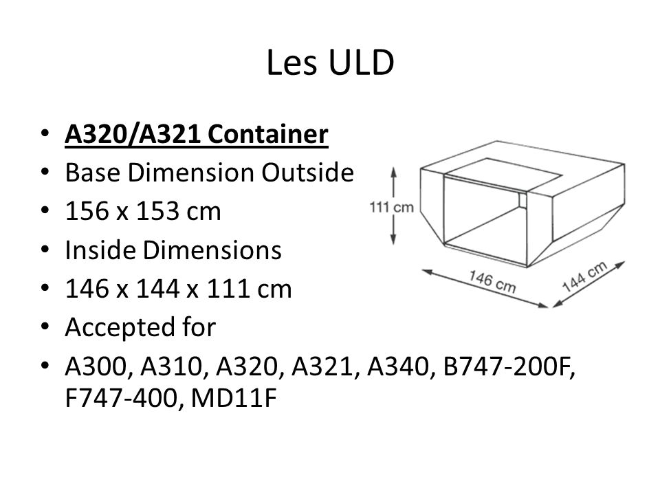 Les ULD A320/A321 Container Base Dimension Outside 156 x 153 cm