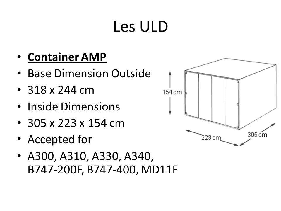 Les ULD Container AMP Base Dimension Outside 318 x 244 cm