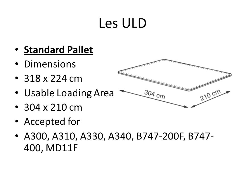 Les ULD Standard Pallet Dimensions 318 x 224 cm Usable Loading Area