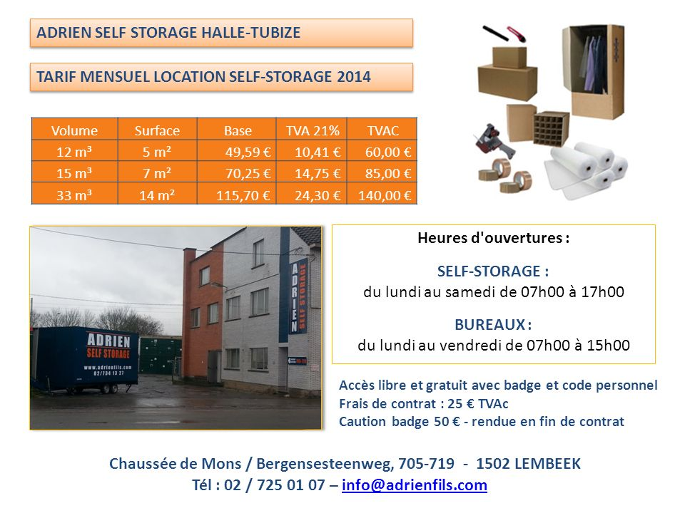 ADRIEN SELF STORAGE HALLE-TUBIZE