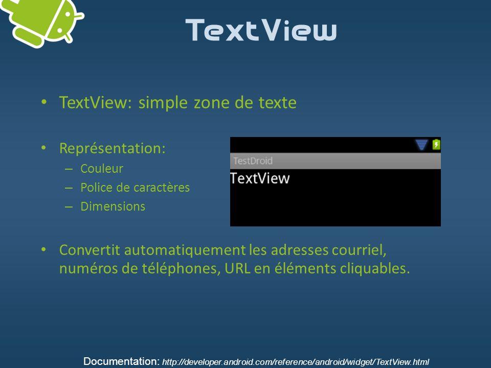 TextView TextView: simple zone de texte Représentation: